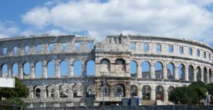 The Pula Arena is the most well known of the surviving Roman buildings in Pula